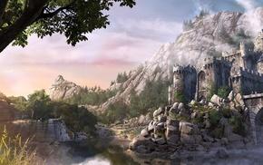castle, bridge, forest, fantasy art, rock