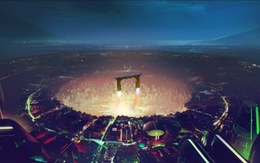 futuristic, digital art, Tron, city, artwork