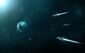 космический арт, космос, Земля, космический корабль