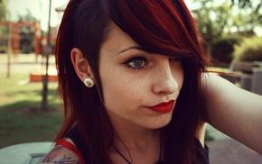 redhead, lipstick, teen, sidecut, girl