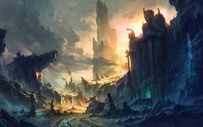 пейзаж, фантастическое исскуство, произведение искусства, горы, руины