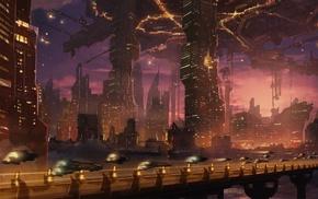 city, artwork, futuristic