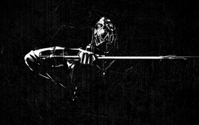 Dishonored, black, white, Corvo, skull