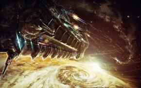 фантастическое исскуство, произведение искусства, космический корабль, война, цифровое искусство