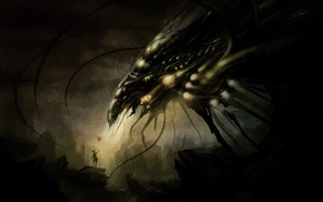 dark, aliens, artwork, balloons, fantasy art