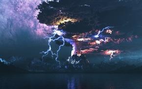 volcano, thunder, storm