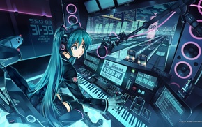 Hatsune Miku, Vocaloid, anime girls, anime, train station, futuristic