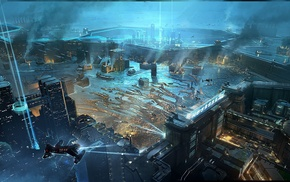 fantasy art, futuristic, city, artwork