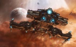 roses, bottle, boy, bouquet, космический корабль, фантастическое исскуство, произведение искусства, Starcraft II, космос