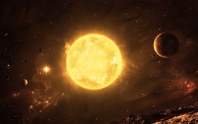 space, space art, Sun, asteroid, planet