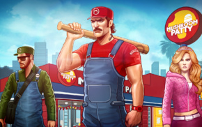 Luigi, baseball bats, concept art, mushroom, Princess Peach, Super Mario