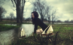 boat, water, girl
