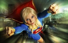 blonde, girl, Supergirl, building, blue eyes, Enji night