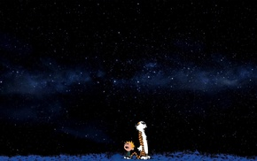 Calvin and Hobbes, space, comics, stars, blue