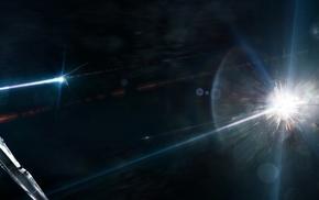 цифровое искусство, звезды, галактика, произведение искусства, космический корабль