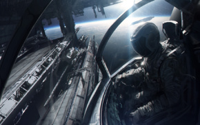 concept art, Andree Wallin, artwork, space, spaceship, futuristic
