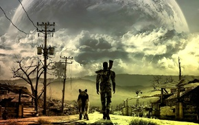 apocalyptic, street, Fallout, video games, Fallout 3, dog
