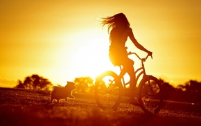 sunset, bicycle, girl, dog, silhouette, sunlight