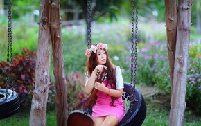 girl, wreaths, girl outdoors, pink dress, swings, guitar