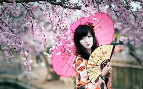 Япония, девушка, цвет вишни