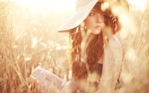 оранжевый, поле, длинные волосы, волнистые волосы, девушки на открытом воздухе