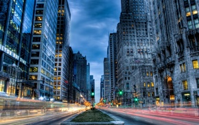 cityscape, Chicago, HDR, long exposure, building