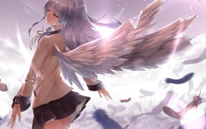 angel, anime girls, Angel Beats, wings, anime