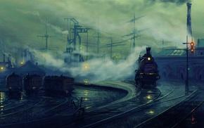 train, artwork, painting, steam locomotive, dock, Lionel Walden