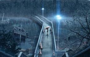 girl, umbrella, bridge, anime, rain