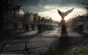 angel, wings, statue, fantasy, city