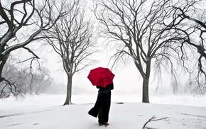 зонт, сакура, Япония, девушка, снег, красивые
