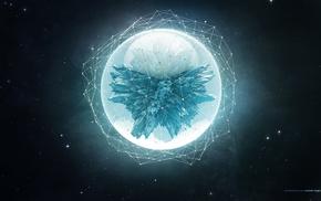 цифровое искусство, сфера, звезды, космос, абстрактные
