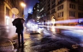 rain, lights, road, car, city, long exposure