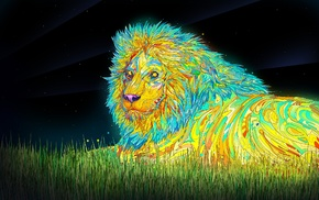 lion, psychedelic, animals, colorful, digital art, Matei Apostolescu