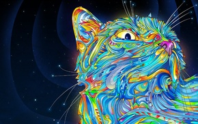 digital art, Matei Apostolescu, cat, psychedelic, colorful