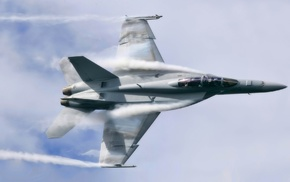 airplane, FA, 18 Hornet, aircraft, contrails