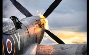 airplane, spitfire, World War II