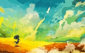 rainbows, drawing, happy, umbrella, rockets, colorful