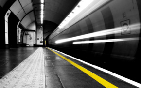 selective coloring, long exposure, London, light trails, subway