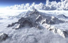 снег, горы, облака