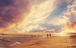 солнце, пейзаж, пляж, люди, море