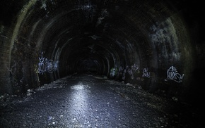 dark, tunnel, night