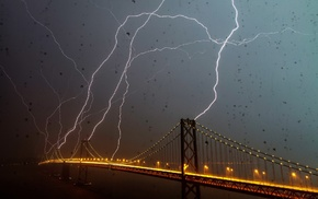 water drops, San Francisco, lights, architecture, bridge, lightning