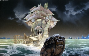 Roger Dean, fantasy art, sea, rock