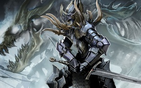 concept art, artwork, knights, dragon