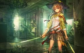 катана, девушки из аниме, меч, аниме
