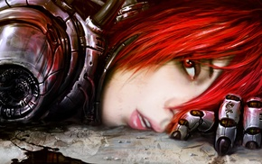 concept art, androids, cyborg, redhead, fantasy art, robot