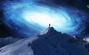 горы, галактика, человек, концептуальное искусство, небо