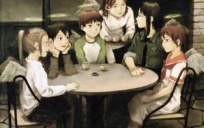 group of girl, Haibane Renmei, angel, anime girls