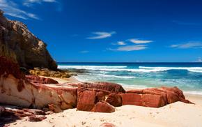 ocean, stones, coast, sea, waves